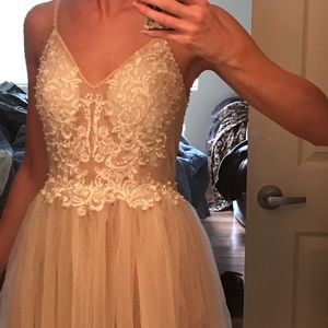 Custom off-white dress perfect for wedding/prom